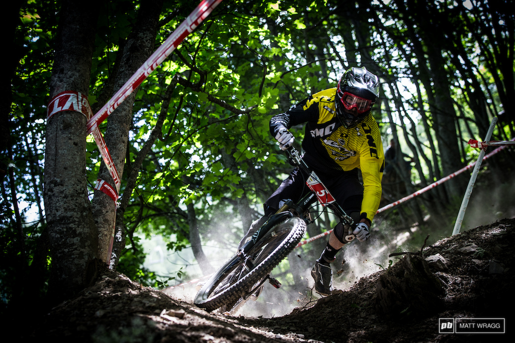 Dan Atherton getting loose on the second stage. He was running well but stage three also claimed him a front flat ejected him over the bars and he limped down the piste which is effectively his weekend over.