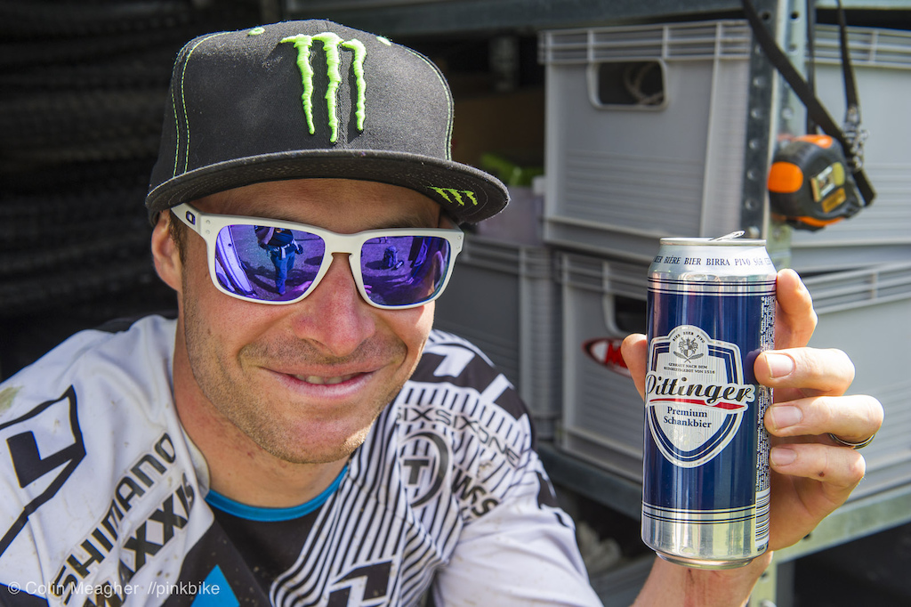 Jared Graves savoring that cold one before claiming second place for the race here in Val d Allos. With that placing Graves moves into first overall for the freshly minted Enduro World Series.