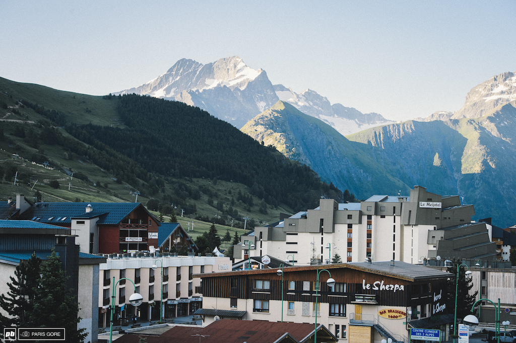 Welcome to Les Deux Alps located in the heart of the French Alps. The town rests nearly at the top of a massive cliff that looks over the valley below. Today holds practice for the third World Enduro and the start of Crankworx.