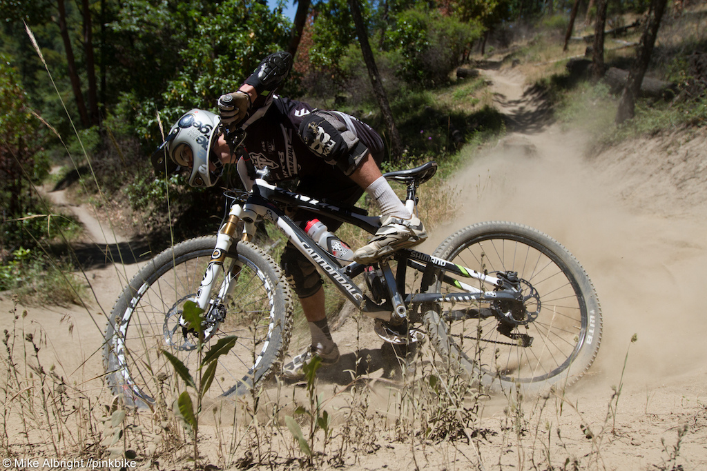 WTB's Marco Osborne gets a little loose on his way to a podium finish at the 2013 Ashland Mountain Challenge