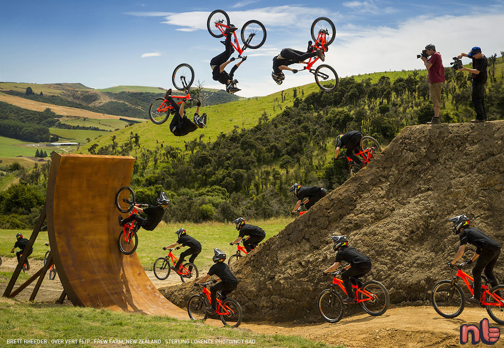 Brett Rheeder goes over vert on the Frew Farm in Winton New Zealand. Photo Sterling Lorence