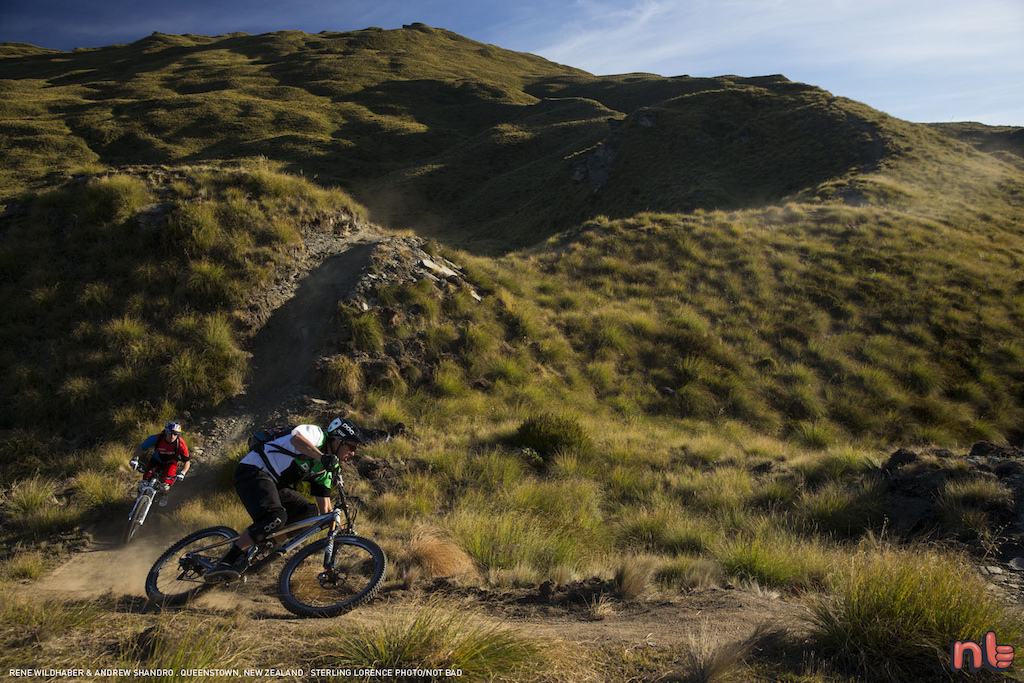 Andrew Shandro and Rene Wildhaber on Rude Rock trail near Queenstown New Zealand.