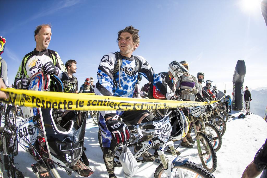 Mega Challenger start. Jean Pierre Bruni is a legend amongst the Mega riders