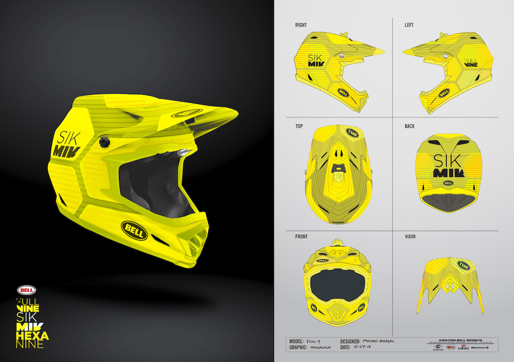 """Inspired by the little brother """"Super"""" (one of my favorite helmet designs) this graphics are a contemporary geometric approach, clean and simple, but original and catchy. It's name is Hexanine a combination of """"hexagon"""" and """"nine"""" from Fullnine product name. I've produced 3 color variations with future production in mind, two random trend colors, and a team scheme color for Mick. Thanks Pedro Brajal"""