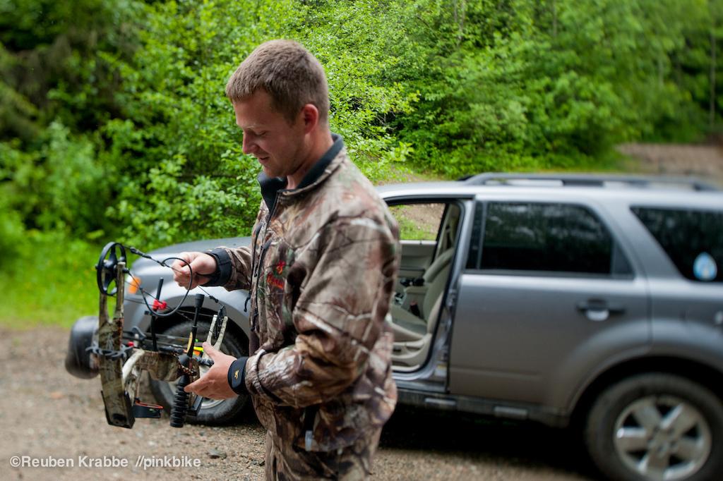 Deer Hunter on Sumas mountain shows us his bow
