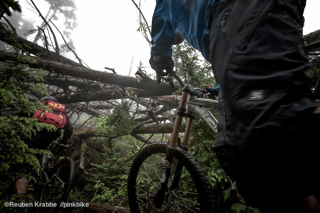 Stephen Matthews follows wade simmons through blown down trees. Sumas