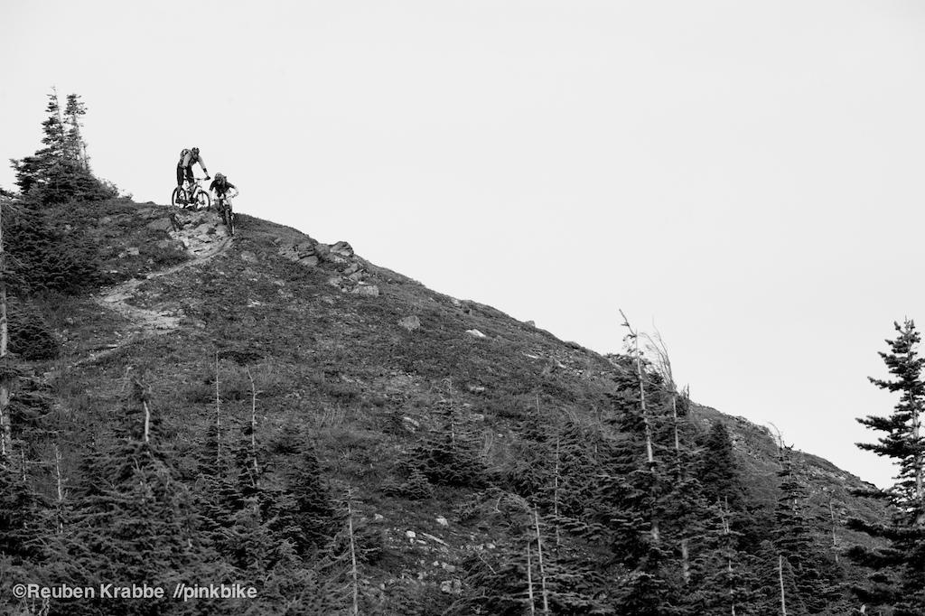Sarah Leishman and Joe Schwartz drop from the peak of Mt Thurston