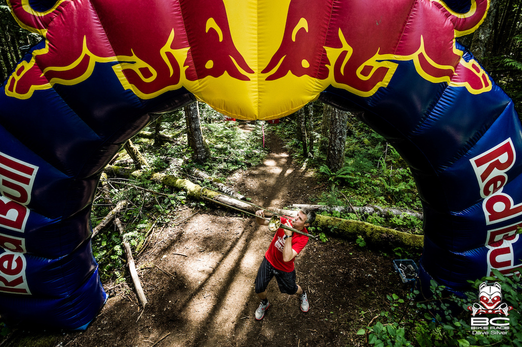 Under the RedBull Arch on course animation entertains the riders as if the single track weren't enough