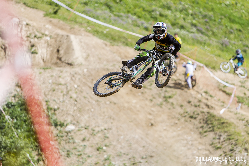 Rosmy throwing some massive whip during the whip contest at Crankworx les deux Alpes!!