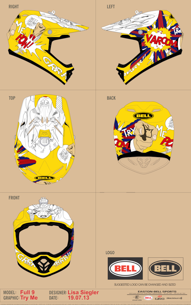 Last minute Design for the Bell Contest. It´s the ultimate Roy Lichtenstein-Helmet. All credits to him... Was fun to do this in a race against time. Hope you have a good laugh and enjoy the look. Best regards.