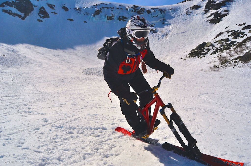 This was taken after the first ski bike descent of Tuckerman Ravine via Right Gully. Cyndrome skis, Lenzsport frame.