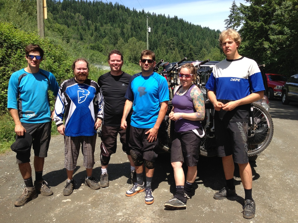 """Ran into this bunch of nobodies on Vedder Mountain June 15, 2013.   It was pretty awesome running into Wade Simmons. I have been a fan of his since 1997 when I bought my first Rocky Mountain Cardiac. Was a little star struck I must say. They were riding Vedder for a Pinkbike article """"Rule of Thirds 1/3 - Welcome to the Fraser Valley"""""""