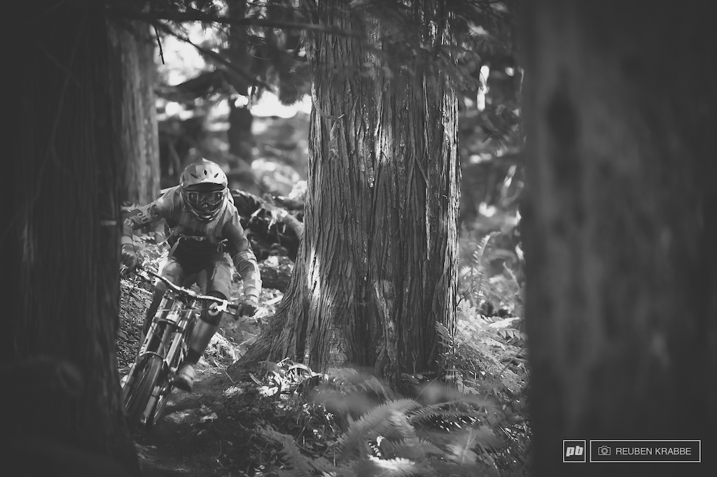 Joe Schwartz cruises out a trail called Femur after lapping Vedder