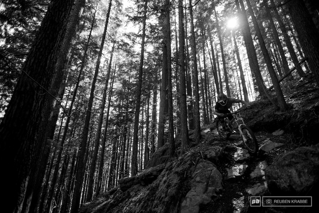 Wade Simmons commands his big bike down Arduum DH full of committing burley lines.