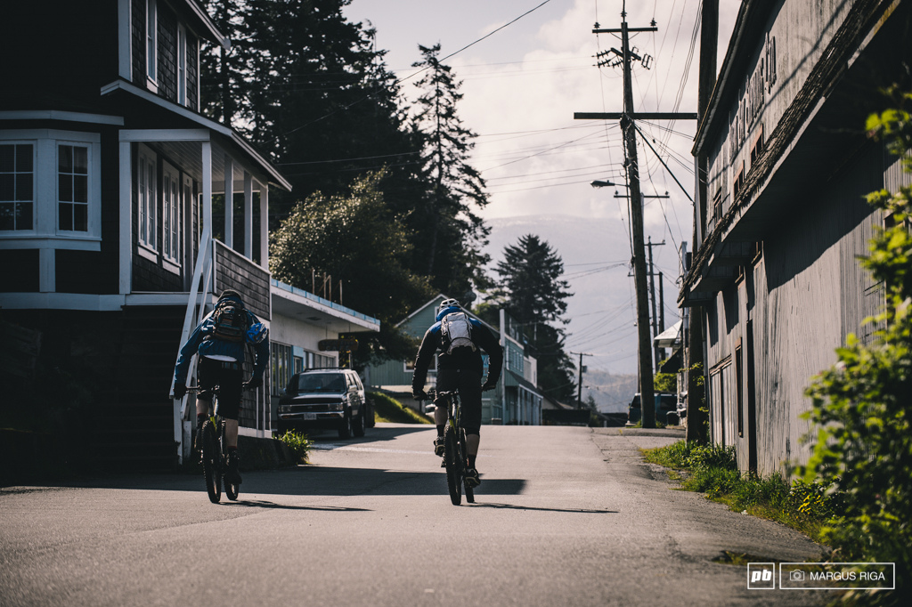 Gully and Heslter exploring Alert Bay s main drag.
