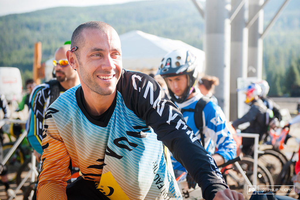 Fabien Barel is still able to smile. also again on third place.