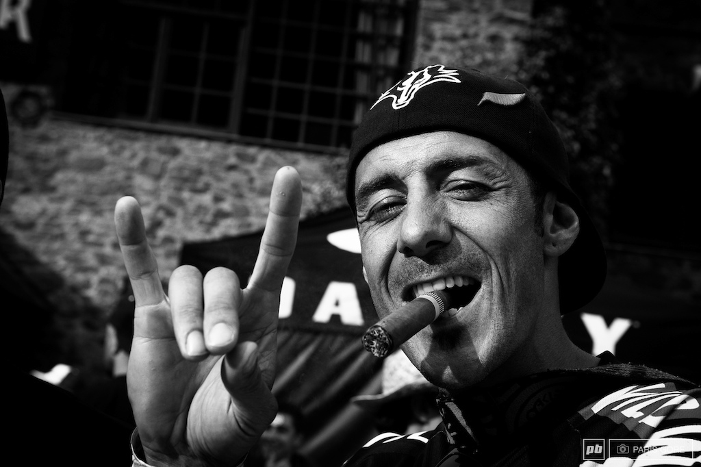 Cedric Gracia himself celebrating his last race at his bar in La Massana. Over his career Cedric has spent around 440 days of recovering from injuries. We ll miss him but he won t be forgotten. Cedric plans to focus on more Enduro and filming over the next few years.