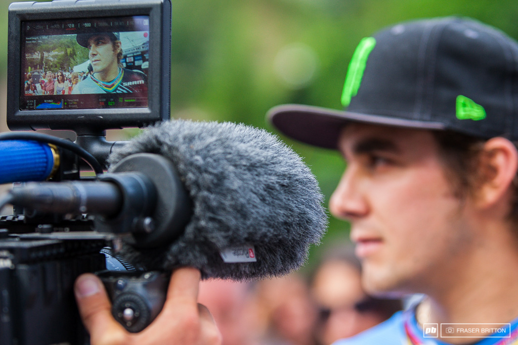 Sam Hill always the target of just about every post race interviewer.