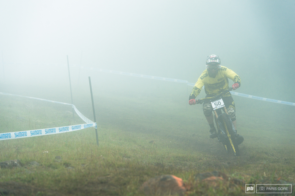 Mitch Delfs appearing out of the misty mountain top.