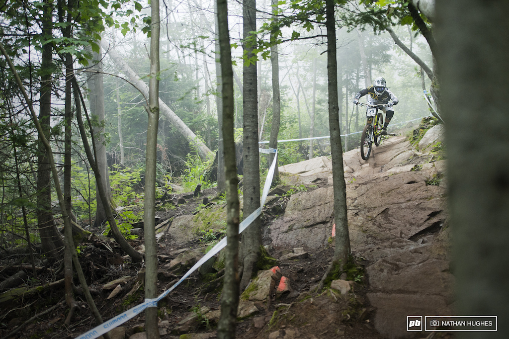 The mists rolled through the woods all day bringing that distinctive St Anne vibe along with them. The rocks gardens come after the flat out open section under the lift and give the riders the most to think about.