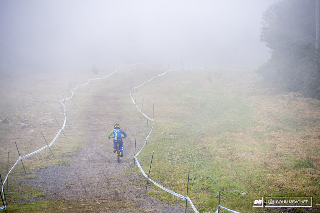 Emilie Siegenthalller rolling the reduced fog in the group B practice this morning yesterday-by comparison-was as thick as oatmeal that s been cooking for a week on the stove.