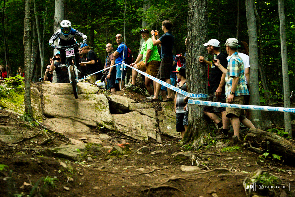 Emmeline Ragot taking Rachel Atherton off the podium for the first time this season. Although Rachel crashed it s good to see the faces change.