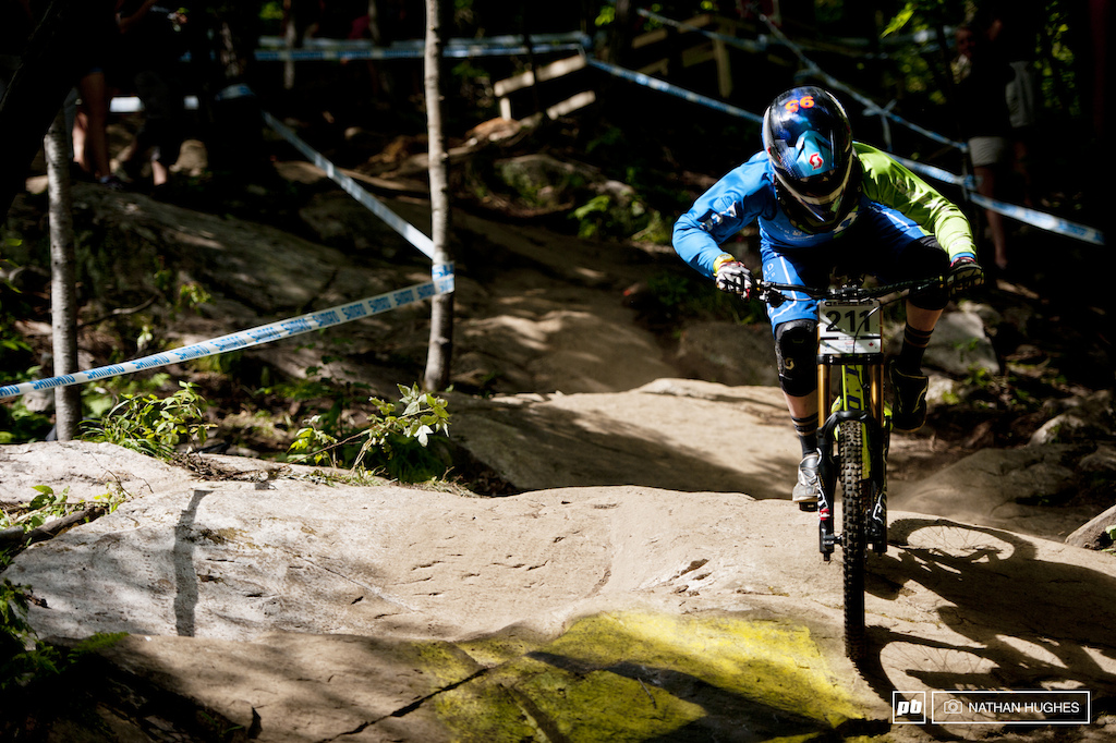 Gstaad-Scott s Niederberger powering across the Quebecois rock on route to third and keeping up appearances with 4th in the standings.