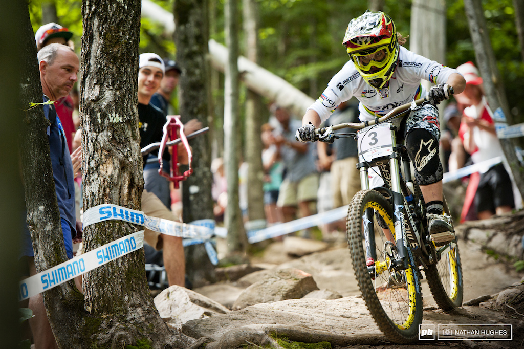 Charre was Charreging again but missed the podium by a second. Times are constricting in the ladies field as the season runs and more than few hit the gaping chasm that was the finish jump.