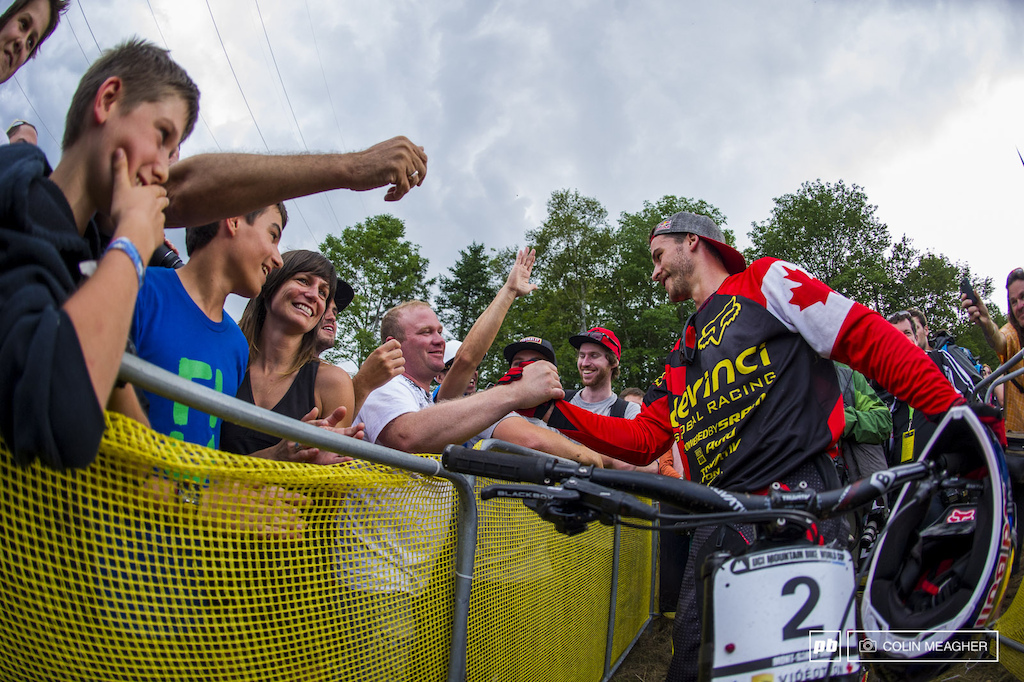 Smith lapping up the stoke with the fans.