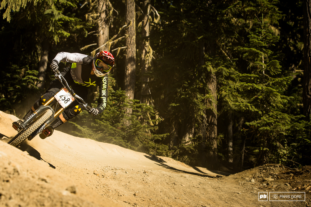 Claire Buchar landing second in a not so stacked women s field but nonetheless hitting the podium at the 2013 Garb DH.