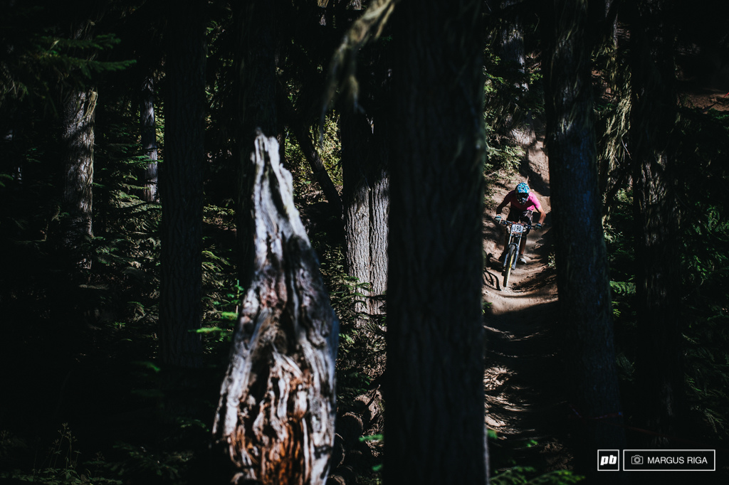 Michael Watt of Wolfpack racing coming into the light in the Garbonzo trees.