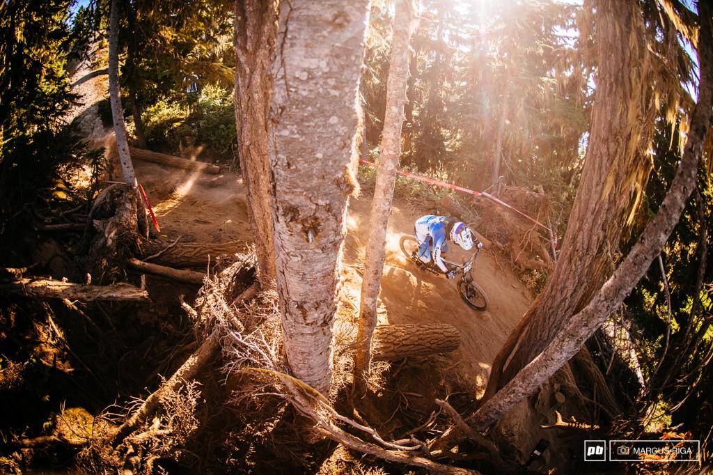 Tim Eaton of Giant Bikes threading through trees.