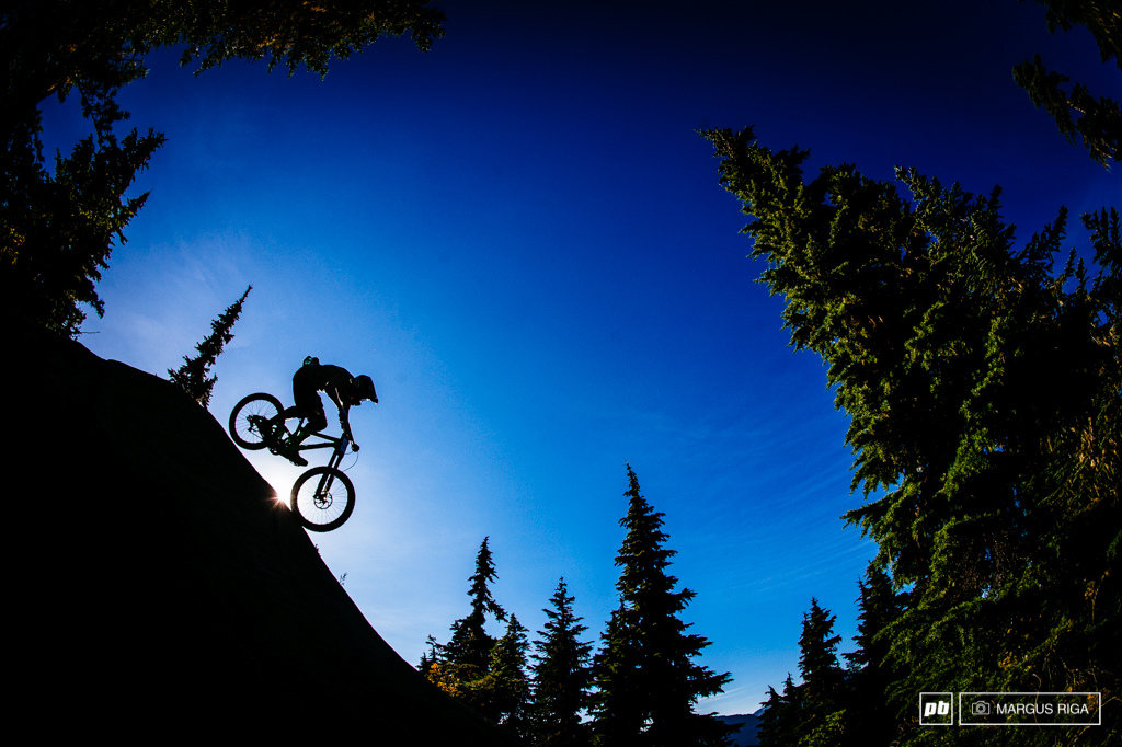 Sun flares and silhouettes make for happy photographers on the Garbonzo DH.