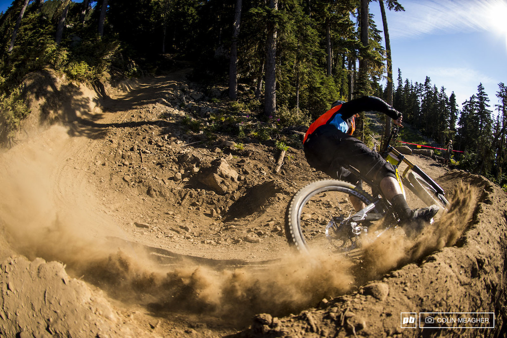 Track conditions were dry and loose-the almost complete lack of rain for the past month and a half have the park pretty beat down massive braking bumps everywhere and loads of dust in the berms.
