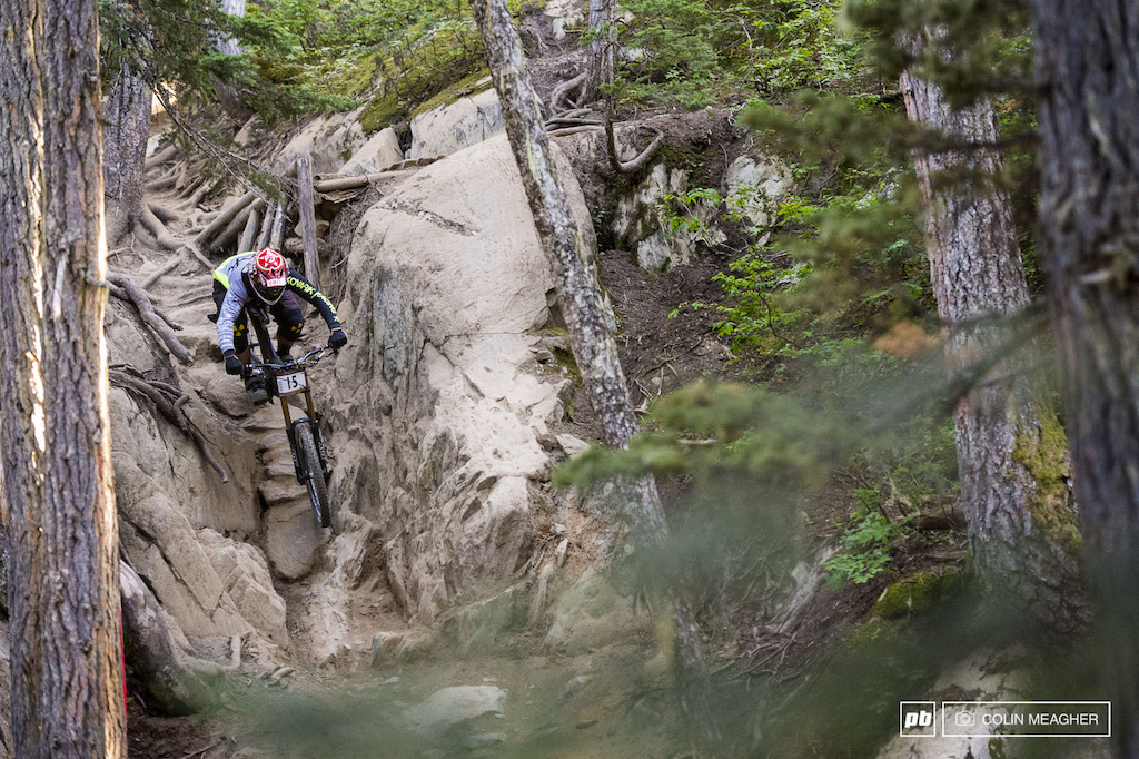 Chris Kovarik taking the slot option on rider s right on In Deep . Kovarik was a rider to watch on the Garbo DH--he s a semi local after all and while he s not racing World Cup any longer he s not really lost a step particularly not on his home turf.