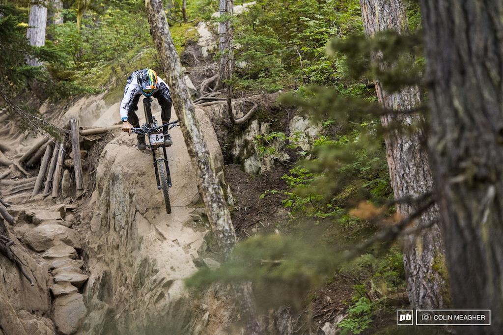 Blenki took the high line on rider s left--a far steeper drop.