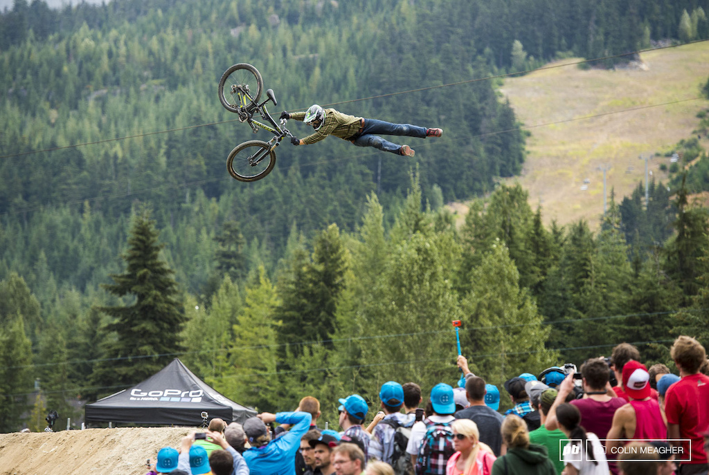 Jeff Herbertson getting a bit of extension on this tail whip.
