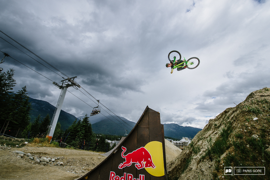 Sam Pigrim giving the slopestyle course a little warm up.
