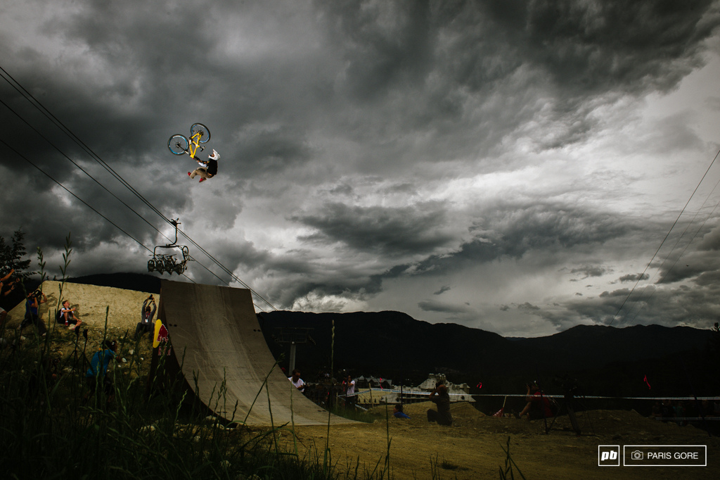 Sam Dueck flip whipping over the dark clouds of Mordor. Dark skies and a little rain threatened the event but not enough to effect any of the next level riding.