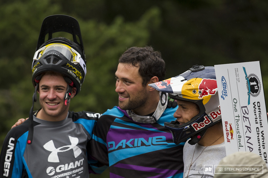 Sorge Vanderham and Cruz at the official whip off championships Crankworx 2013.