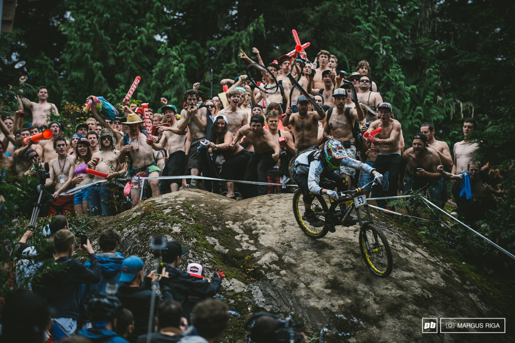 Nothing like smashing through a swath of sex and booze while racing your ass off. Not your average DH race. Dan Sheridan getting the Canuck treatment at the Canadian Open DH.