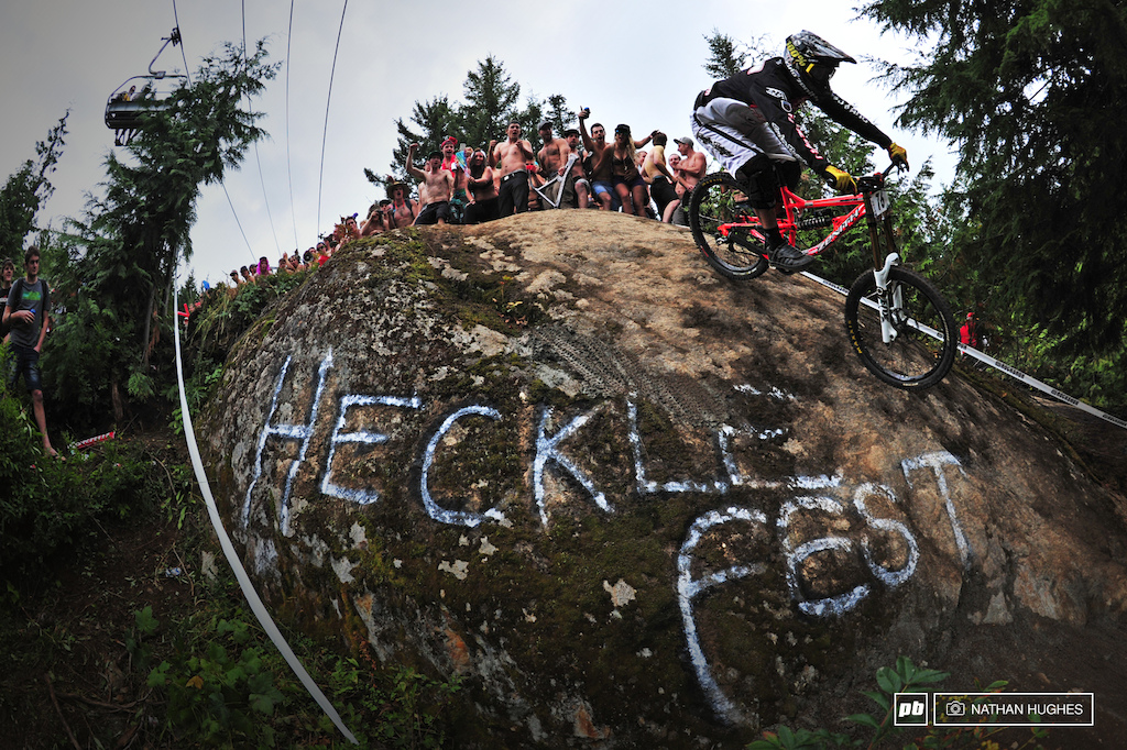 A big rock with mass of unbelievably excited people on top. And a rider every 30 seconds.
