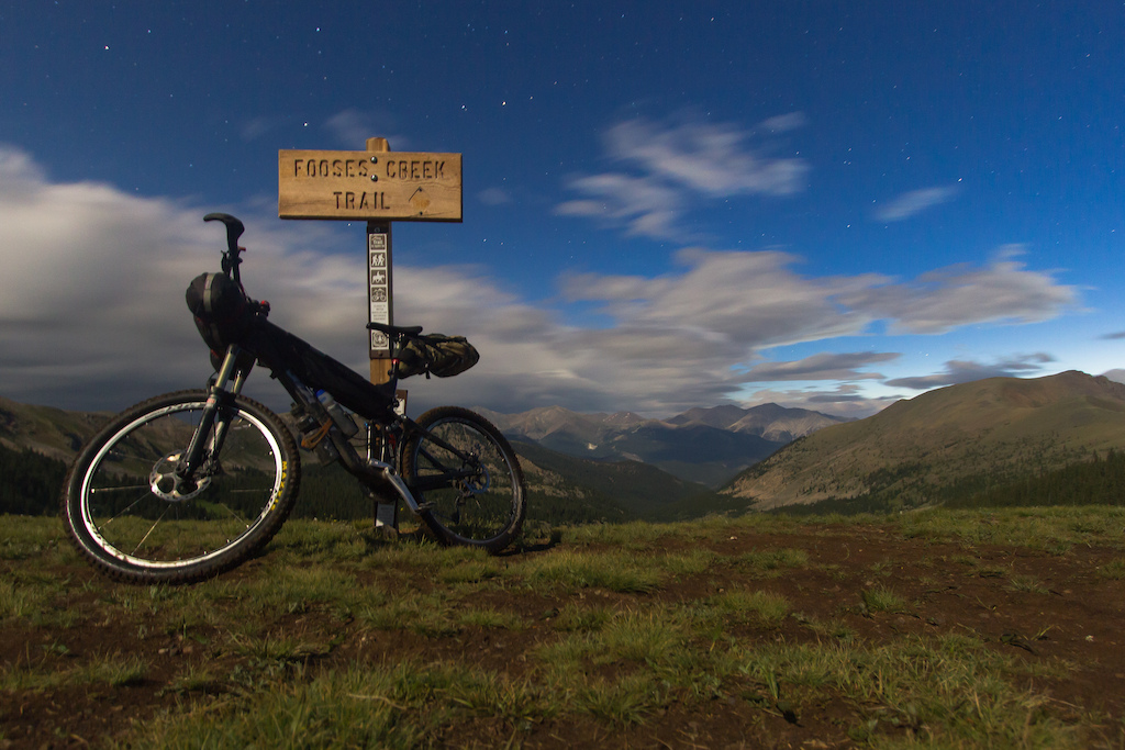 Topping out on the Fooses Creek hike-a-bike at 4am.  Monarch Crest Trail under a full moon in absolute solitude