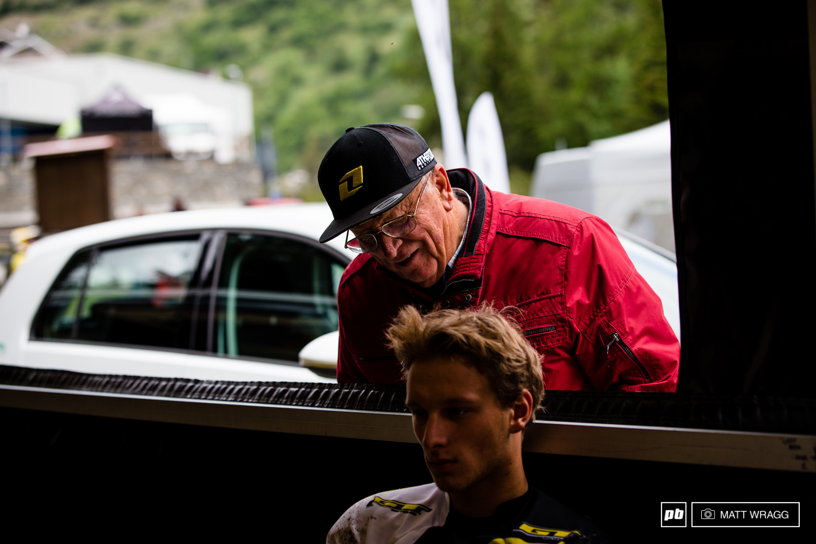 The entire Maes clan is here in La Thuile this weekend, including his grandfather who dropped by the pits to check on him before PS6.