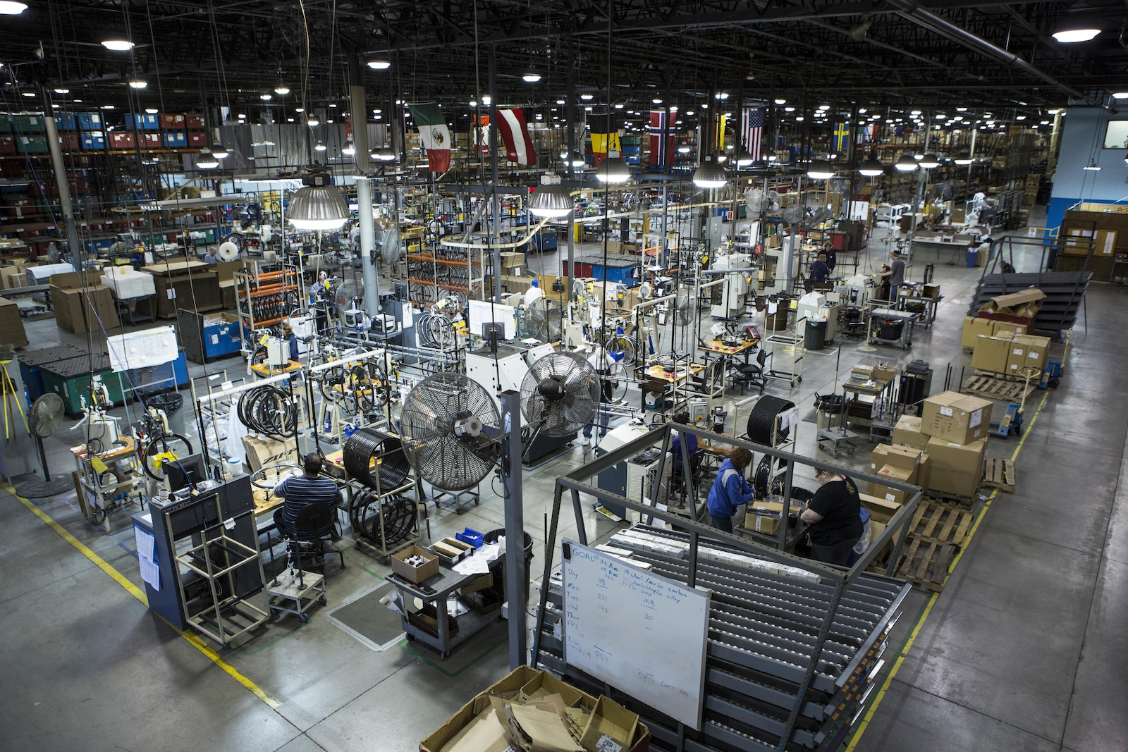 An overview of the factory where Bontrager hand builds wheels in Whitewater WI USA.