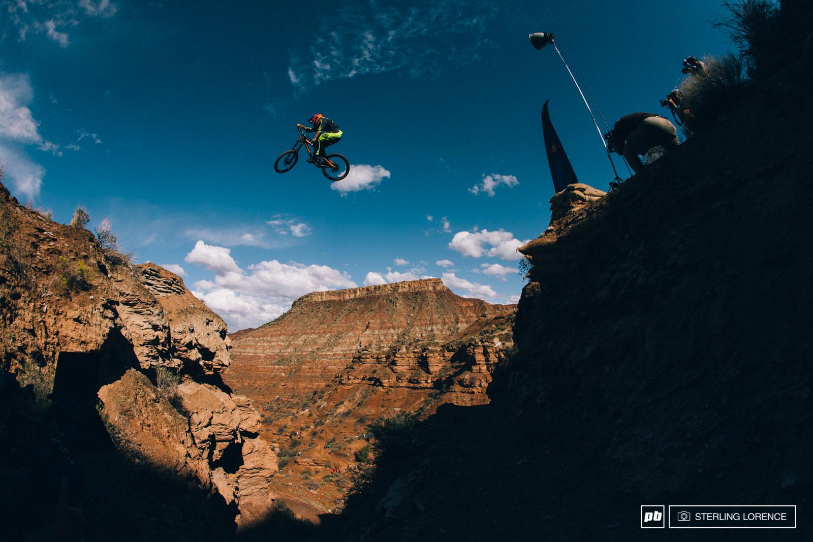 Brendan Fairclough across his canyon gap at RedBull Rampage 2014.