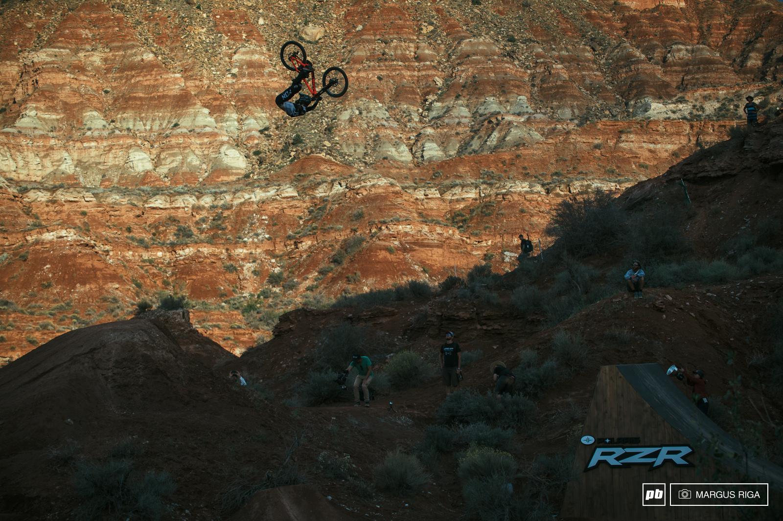 Brett Rheeder no look-back flip. What