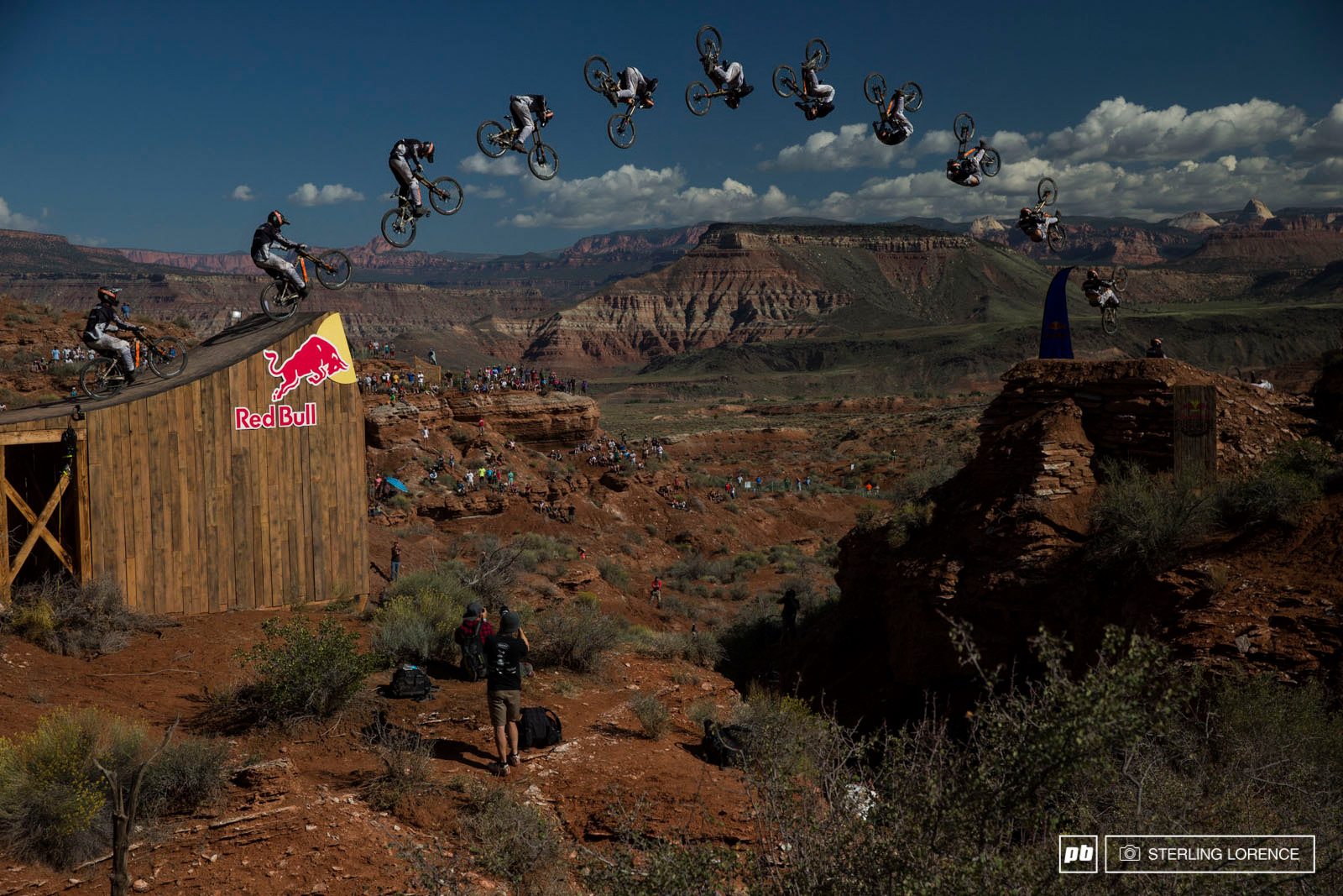Tom VanSteenbergen s attempt at a front flip over the canyon gap at RedBull Rampage 2014.