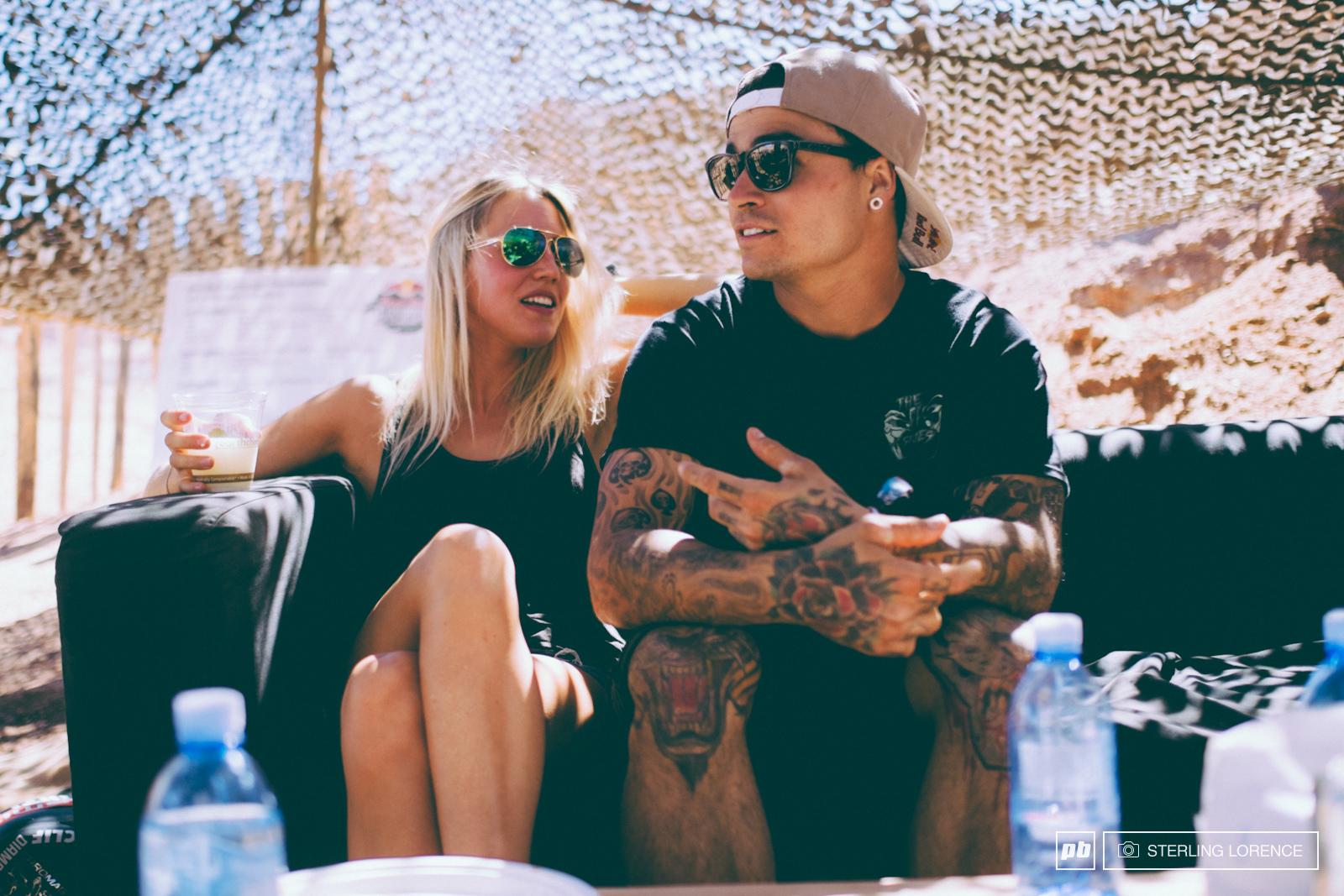 Andreu Lacondeguy and his girlfriend at RedBull Rampage 2014