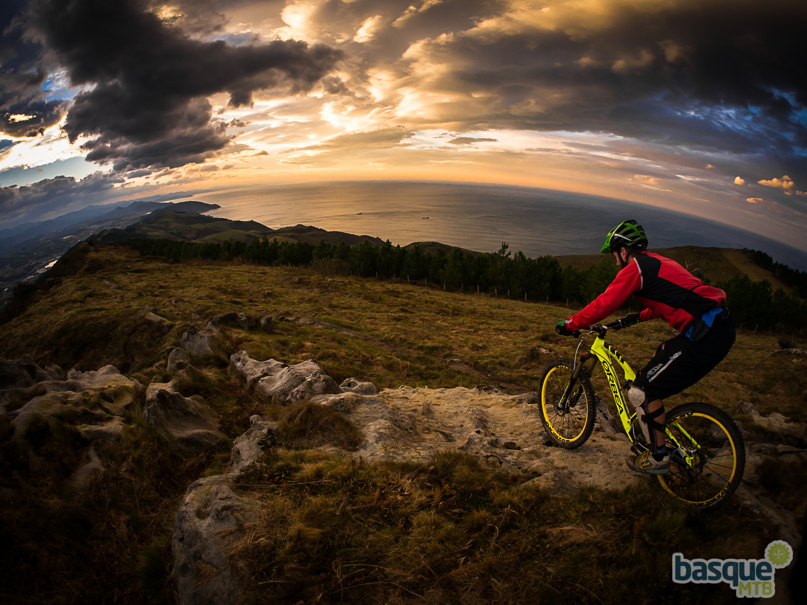 Riding the Orbea Rallon at sunset on the trails it was designed on.
